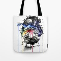 calcifer Tote Bags featuring Howl's Moving Castle by Sandra Ink