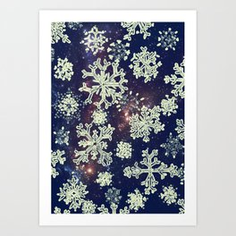 Christmas snowflakes BLUE-special edition 2018 Art Print