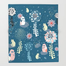 baby animals' reunion Throw Blanket