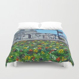Spring at City Hall, Cardiff Duvet Cover
