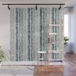 Distressed Vintage Wallpaper Flowers and Stripes in Muted Jewel Tones Pink Teal Green Wall Mural