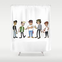 1d Shower Curtains featuring 1D Animated by pygmy