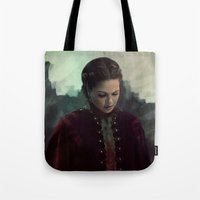 regina mills Tote Bags featuring Young Regina by LindaMarieAnson