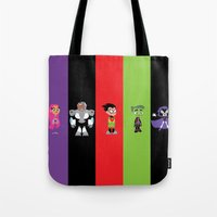 teen titans Tote Bags featuring Teen Titans Go by Adrian Mentus