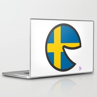 sweden Laptop & iPad Skins featuring Sweden Smile by onejyoo