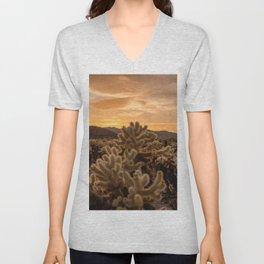 Cholla Cactus Garden, Joshua Tree National Park, Sunset Photography, Desert Life, California Home Decor, Landscape Wall Art  Unisex V-Neck