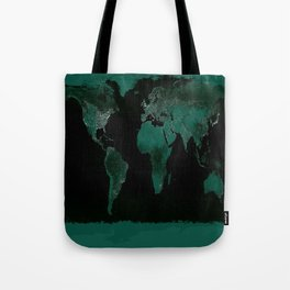 World Map : Green Tote Bag