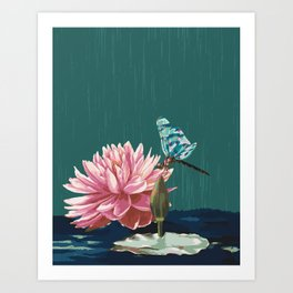 Ophelia's Lily & Dragonfly Art Print