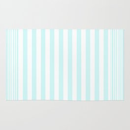 Modern abstract geometric teal white stripes pattern Rug