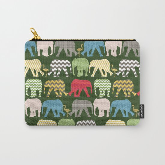 baby elephants and flamingos green Carry-All Pouch