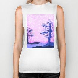 Blue ghost trees on pink speckled sky Biker Tank