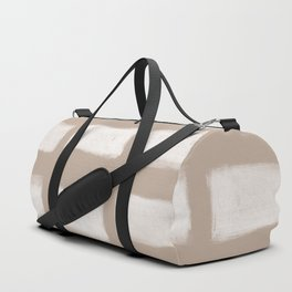 Brush Strokes Horizontal Lines Off White on Nude Duffle Bag