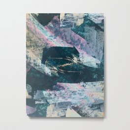 Karma [2]: a vibrant, abstract mixed-media piece in pink, peach, white and teal Metal Print