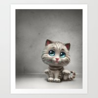 kitten Art Prints featuring Kitten by Antracit