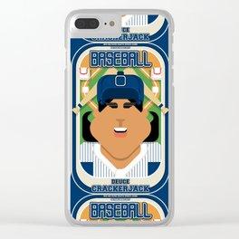 Baseball Blue Pinstripes - Deuce Crackerjack - Indie version Clear iPhone Case