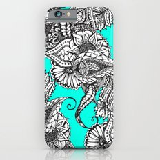 Boho black white hand drawn floral doodles pattern turquoise Slim Case iPhone 6s
