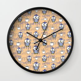 Orange & Blue Owls pattern Wall Clock