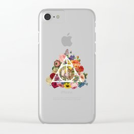 Floral Deathly Hallows Owl and Stag - White Clear iPhone Case
