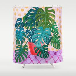 Monstera Houseplant Painting Shower Curtain