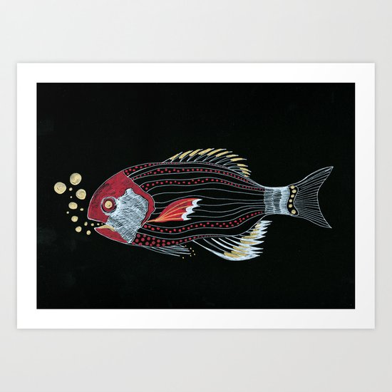 Happy New Fish  Art Print