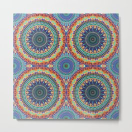 Colorful abstract ethnic floral mandala pattern design Metal Print