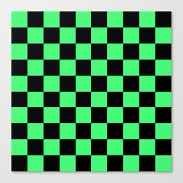 Black and Green Checkerboard Pattern Canvas Print