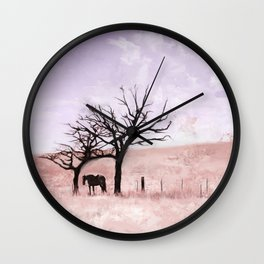 The Lone Horse In The San Rafael Valley Of Arizona Wall Clock