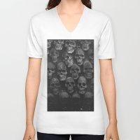 skulls V-neck T-shirts featuring SKULLS by Danielle Fedorshik