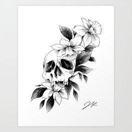 Skull Daffodils Art Print