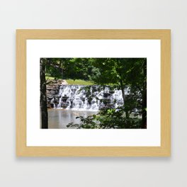 waterfall and trees Framed Art Print