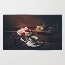 Vintage still life with coffee items Rug