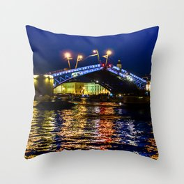 Raising bridges in St. Petersburg Throw Pillow