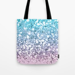 Sparkly Unicorn Blue Lilac & Pink Ombre Tote Bag