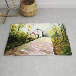 Beautiful Cottage Garden Painting Rug