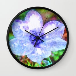 Blue Anemone Watercolor Wall Clock