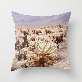 Chollo Cactus Garden - Joshua Tree Throw Pillow