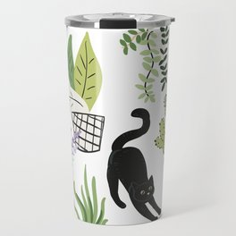 Black cat and plants in the pots. Morning stretch Travel Mug