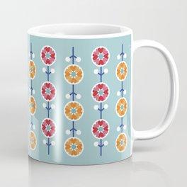 Scandinavian inspired flower pattern - blue background Coffee Mug