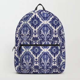 Portuguese Tiles Azulejos Blue White Pattern Backpack