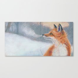 Red Fox Snowflakes Canvas Print