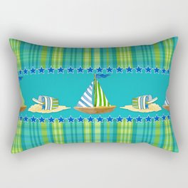 Nautical Sailboat Beach Blue Star Little Boy Plaid  Rectangular Pillow
