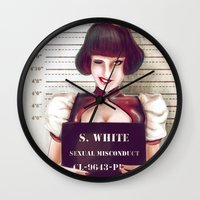 snow white Wall Clocks featuring Snow white by adroverart