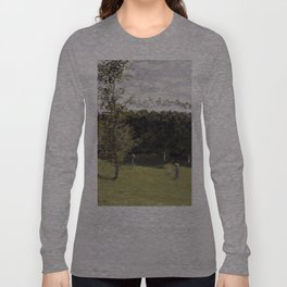 1870-Claude Monet-Train in the Countryside-50 x 65 Long Sleeve T-shirt