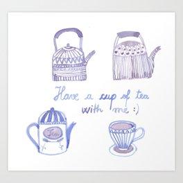 Decorative teapots Art Print