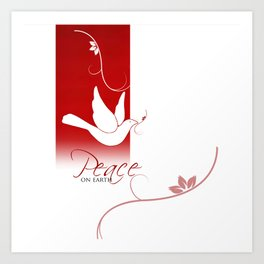 Peace on Earth Dove in Red and White Art Print