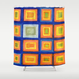 Square Pattern Beaming with Luminous Color Shower Curtain
