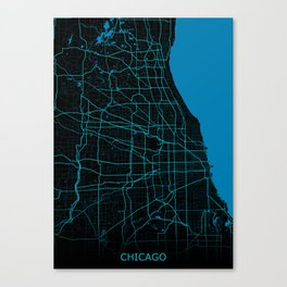 Chicago Map Night Mode Canvas Print