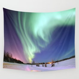 Northern Lights of Alaska Photograph Wall Tapestry