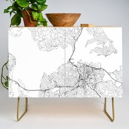 Auckland White Map Credenza