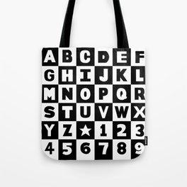 Alphabet Black and White Tote Bag